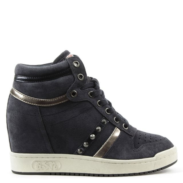 Prince Bis Navy Suede Studded Wedge High Top Trainer