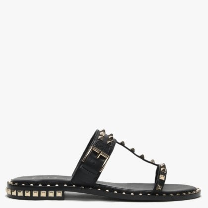 048ae4154 Prince Black Leather Studded Sandals