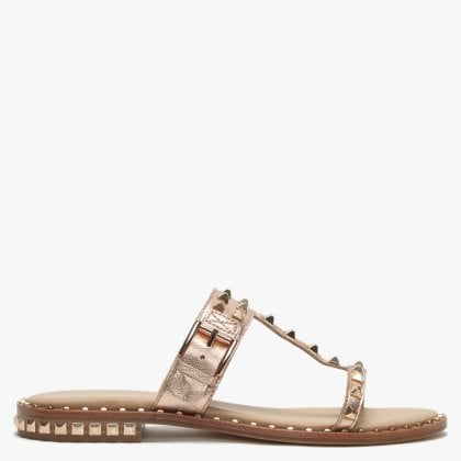 1460cbc591a8 Prince Rose Gold Leather Studded Sandals