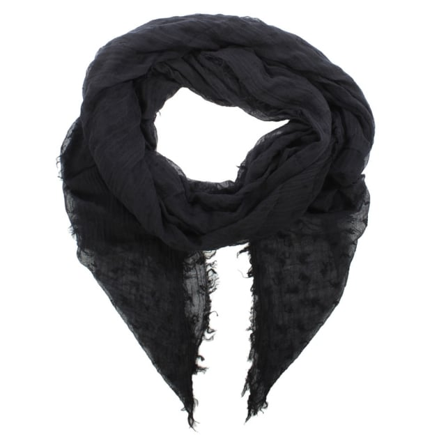 Printed Logo Black Fabric Scarf