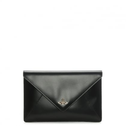 Private Black Smooth Leather Envelope Pouch