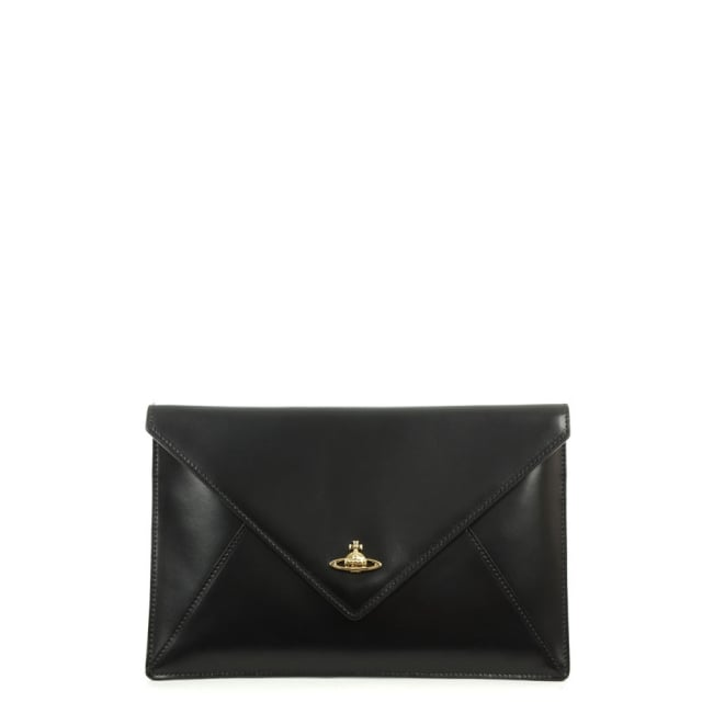 Private Envelope Black Leather Clutch Bag