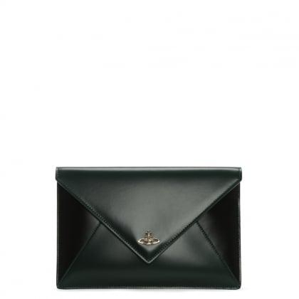 Private Green & Black Smooth Leather Envelope Pouch