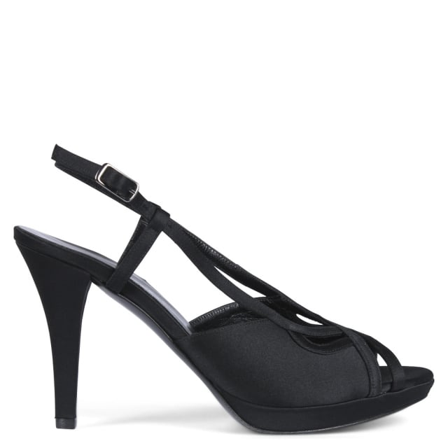 Calpierre Prodigal Black Satin Lattice Sandals