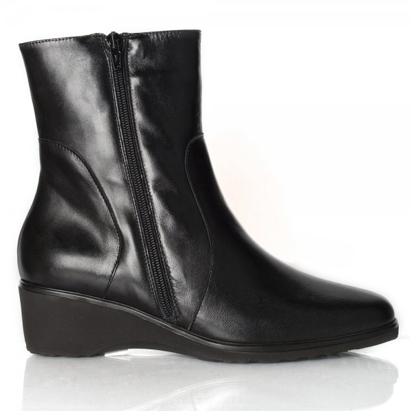 Black Low Wedge Ankle Boots - Boot Hto
