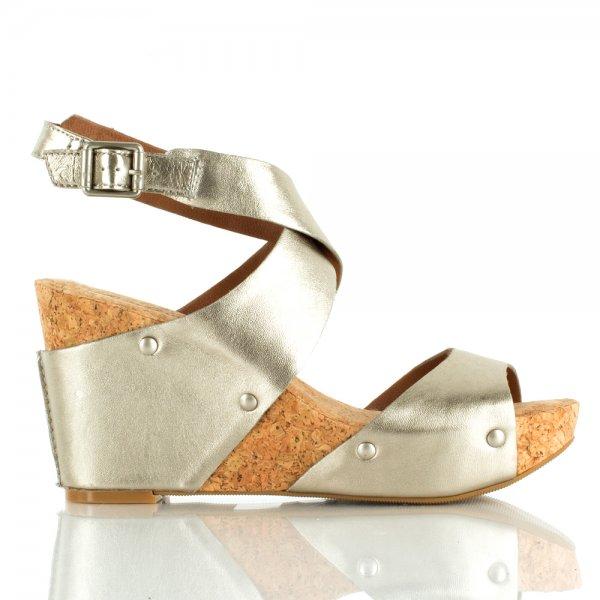 Lucky Brand Pewter Moran Women's Metallic Wedge Sandal