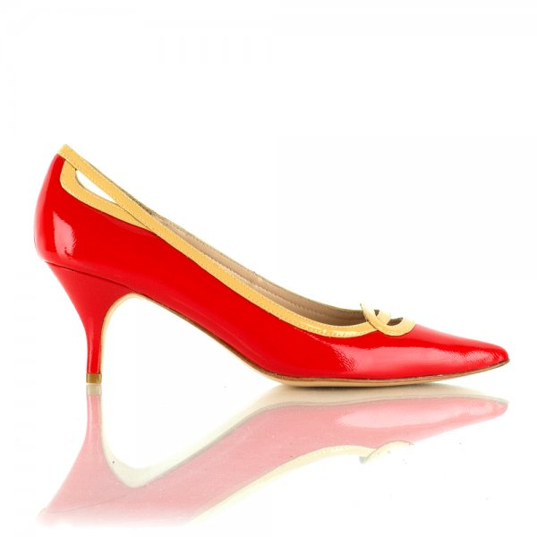 Lucy Choi Red Delilah Women's Kitten Heel Shoe