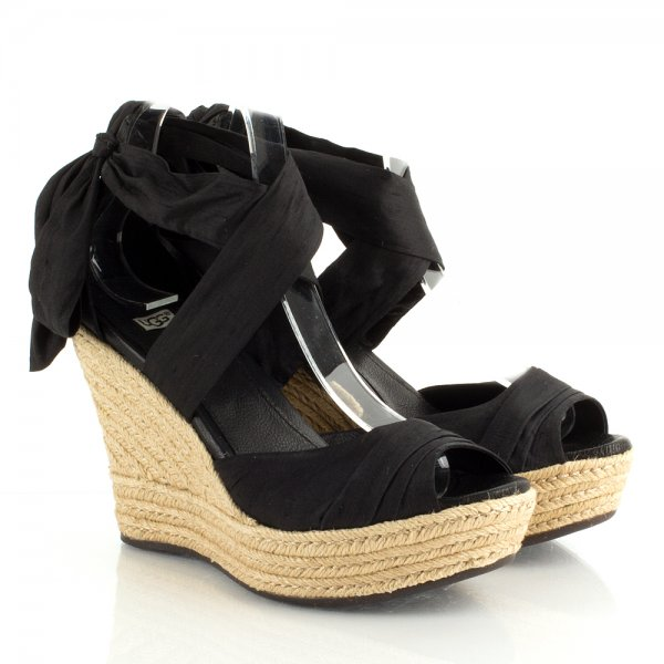 Ugg R Black Lucianna Women S Wedge Sandal