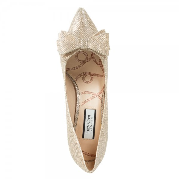 Venice Champagne Glitter Fabric Bow Embellished Court Shoe
