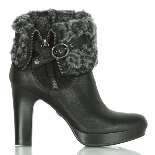 Ugg 174 Black Scarlett Leather Shearling Ankle Boot