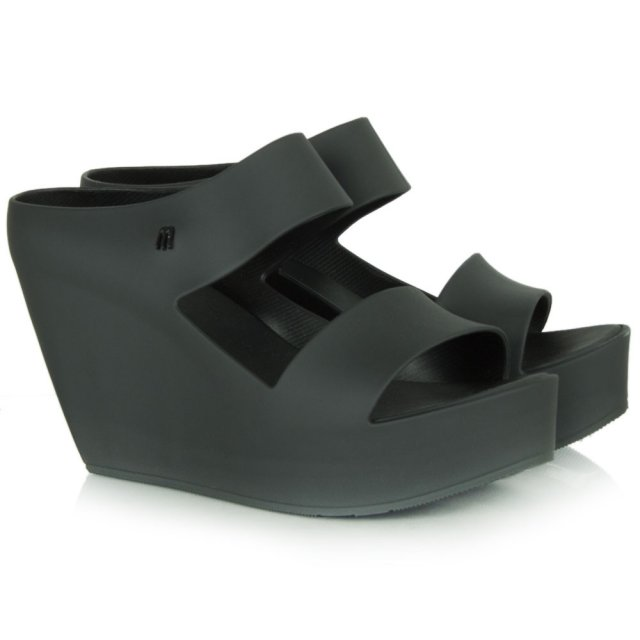 creative black rubber wedge sandal