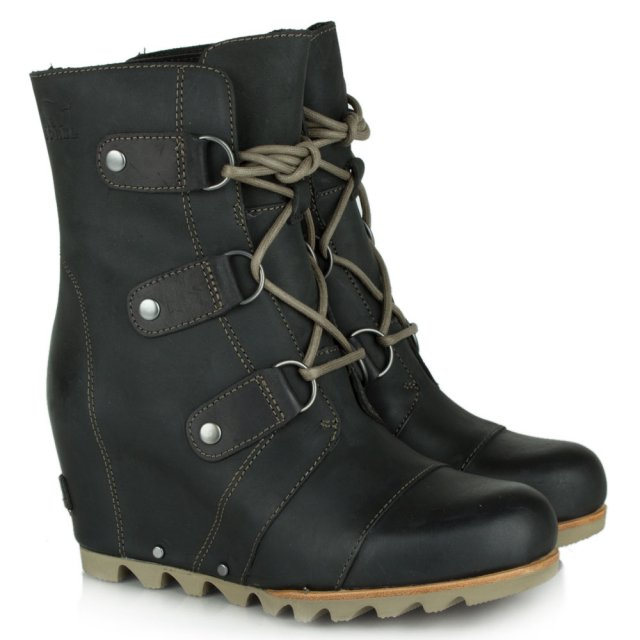 sorel joan of arctic black leather wedge snow boot