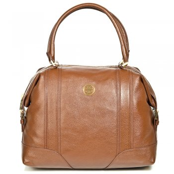 Tory Burch ALLY SATCHEL Brown Leather Womens Stachel Bag