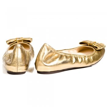 Michael Kors Ariana Ballet Gold Metallic Womens Pump