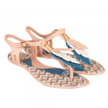Melissa Beige Lua Women's Feather Flat Toe Post Sandal