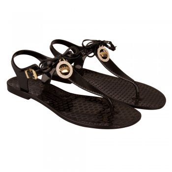 Juicy Couture Black Whistler Women's Jelly T-Bar Flip Flop
