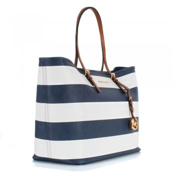 Michael Kors TRAVEL STRIPE TOTE Navy Leather