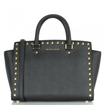 Michael Kors Black Women's Selma Stud Shoulder Bag
