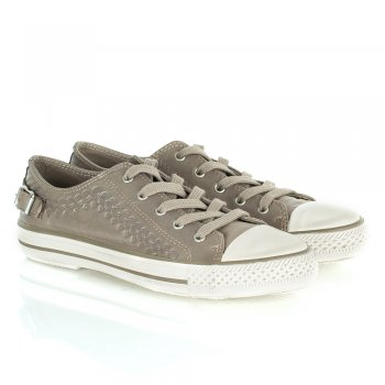 Ash Virgon Taupe Leather Lace Up Trainer