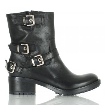 Daniel Black Leather Women's Buckleup Biker Boot
