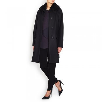 Marni Midnight Blue Wool Coat With Shearling Collar