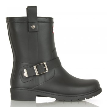 Hunter Black Shoreditch Womens Biker Wellington Boot