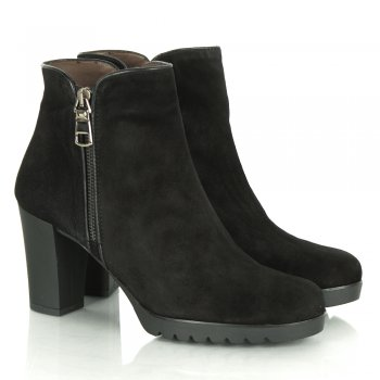 Daniel Commited Black Suede Rubber Heel Ankle Boot