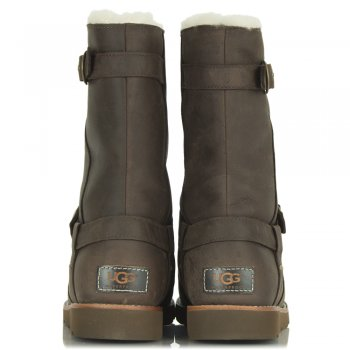 UGG Noira Brownstone Leather Flat Calf Boot