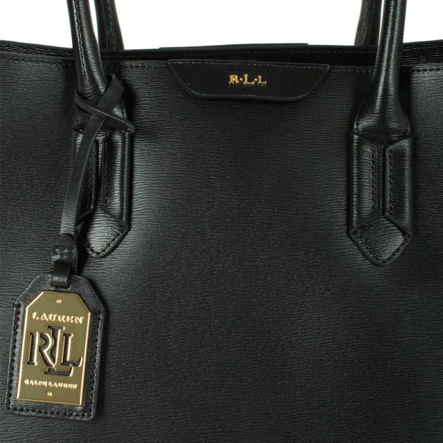 Lauren by Ralph Lauren Tate City Black Leather Tote Bag