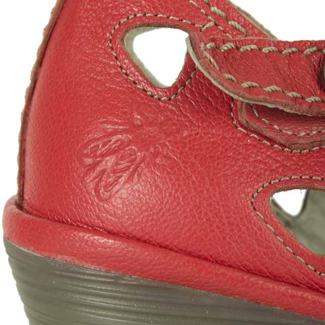 Fly London Red Leather Yuna Close Toe Shoe