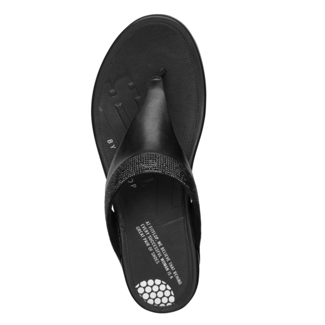 FitFlop Black Leather Banda Micro Crystal Toe Post Sandal