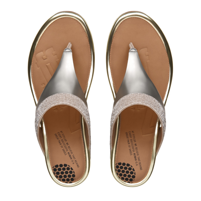 FitFlop Gold Leather Banda Micro Crystal Toe Post Sandal