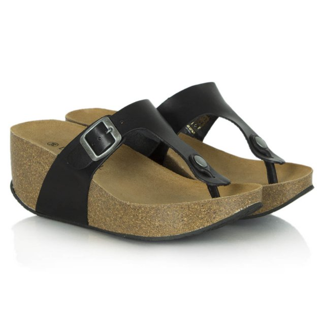 Daniel Goldhawk Road Black Leather Mid Wedge Toe Post Sandal