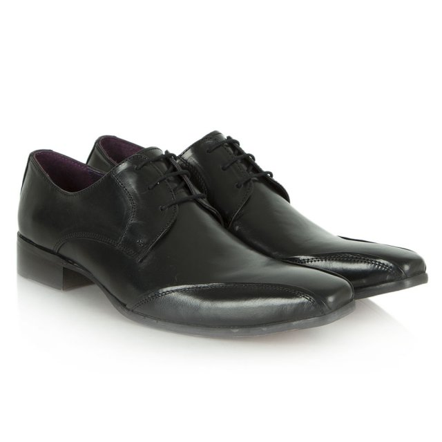 Daniel Black Leather Pointed Lace Up Shoe
