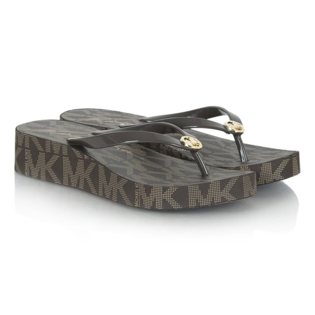 Michael Kors Bedford Brown Logo Toe Post Platform Flip Flop