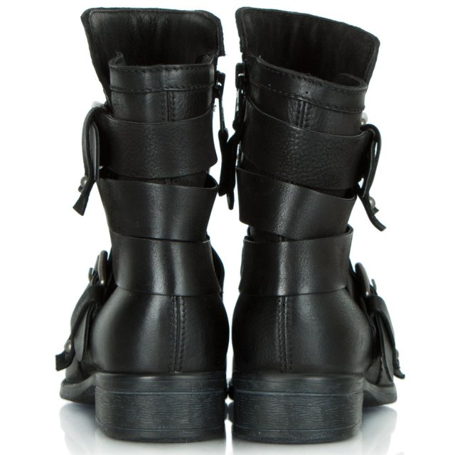Daniel Marvelous Black Leather Buckled Strap Ankle Boot