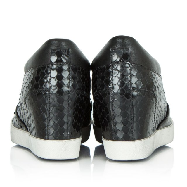 Kennel & Schmenger Ragdoll Black Leather Reptile Wedge Trainer