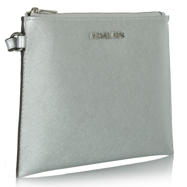 Michael Kors Silver Leather Large Jetset Zip Clutch