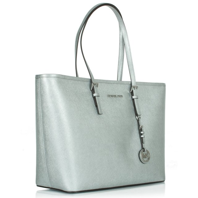 Michael Kors Jetset Multifunctional Top Zip Silver Leather Tote