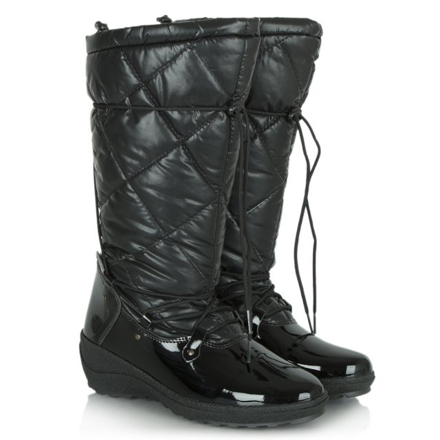 Patent Nell Quilted Wedge Snow Boot