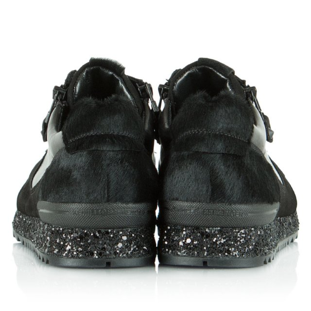 Kennel & Schmenger Black Suede & Leather Waterside Glitter Lace Up Trainer