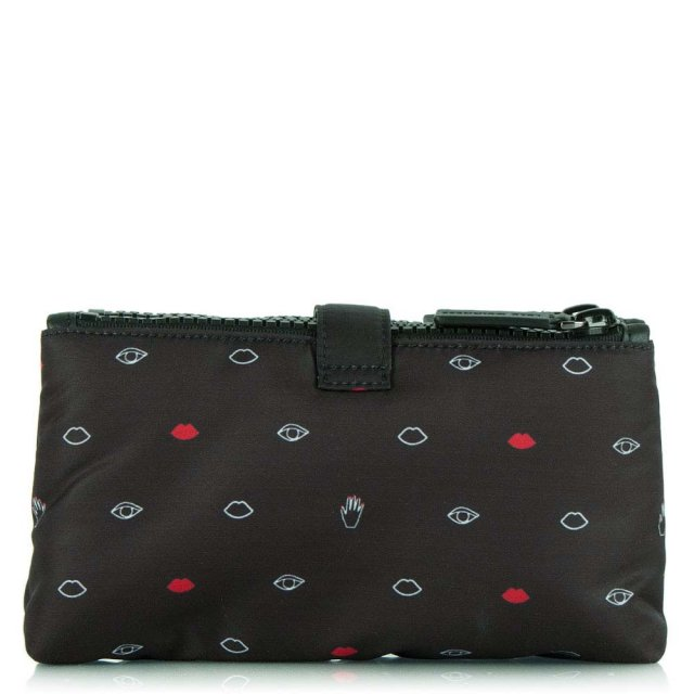 Lulu Guinness Black Fabric Double Top Zip Cosmetic Case