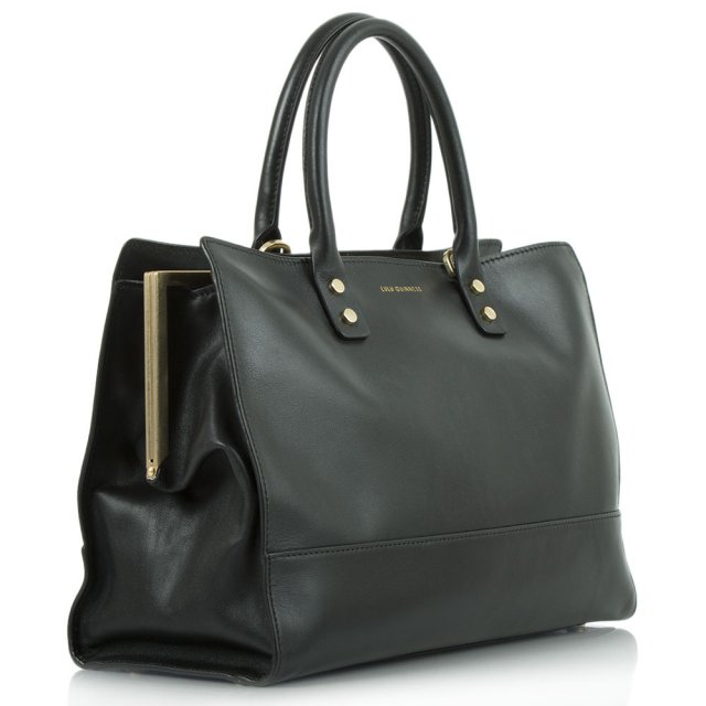 Lulu Guinness Daphne Smooth Black Leather Tote Bag