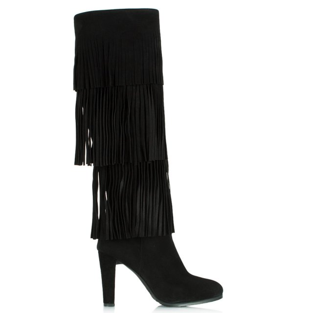 Stuart Weitzman Fringie Black Suede Knee High Boot