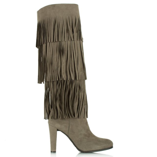 Stuart Weitzman Fringie Taupe Suede Knee High Boot