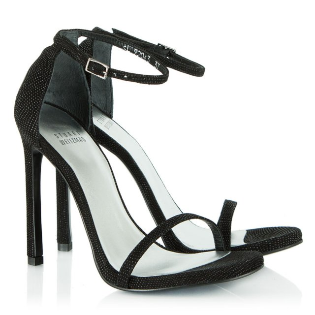 Stuart Weitzman Nudist Black Goose Bump Heeled Sandal