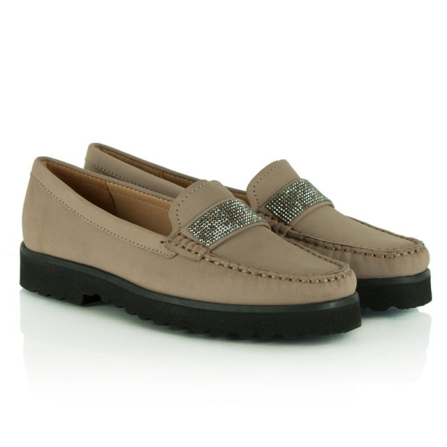 Daniel Genuine Taupe Suede Diamante Embellished Loafer
