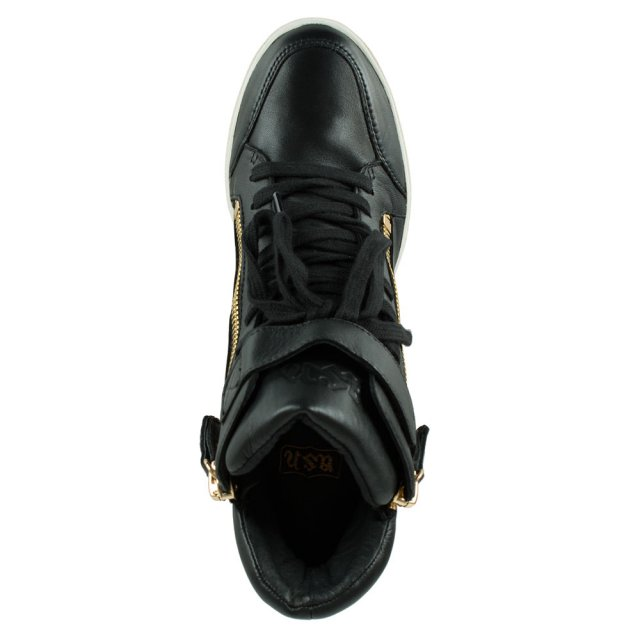 Ash Alfa Black Leather Wedge High Top Trainer