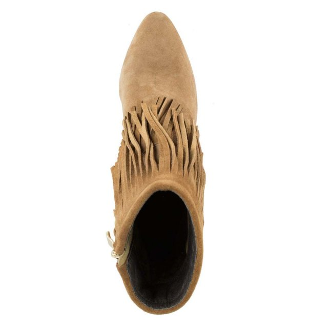 Daniel Positive Nude Suede Fringed Stiletto Ankle Boot