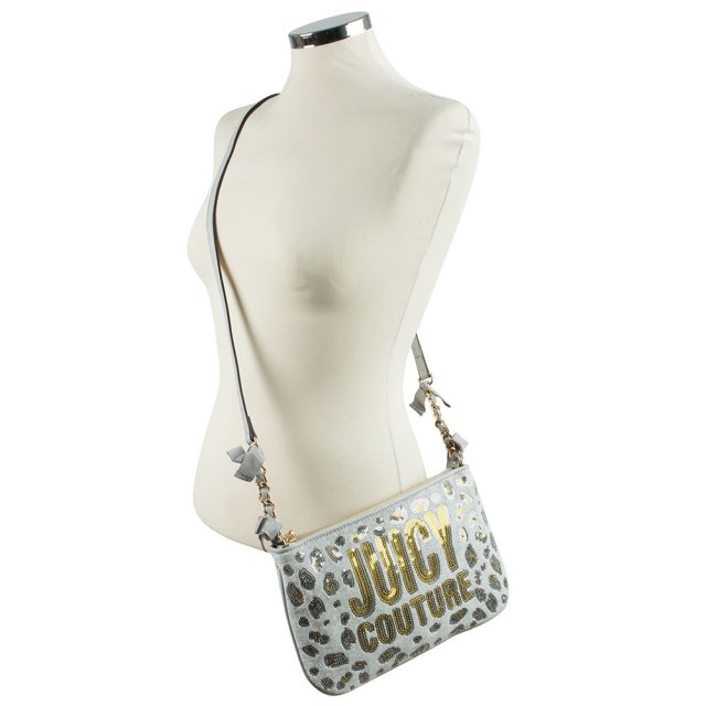 Juicy Couture Leopard Grey Fabric Glitter Cross-Body Bag